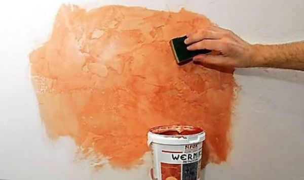 Нанесение краски на декоративную штукатурку