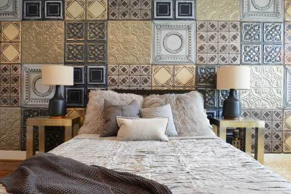 Облицовка декоративная плиткой: стиль пэчворк в спальне