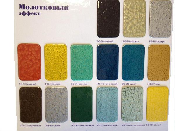 Разнообразная палитра цветов красок с молотковым эффектом