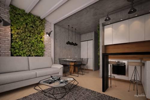 Штукатурка, стилизованная под бетон, в сочетании с открытой кирпичной кладкой