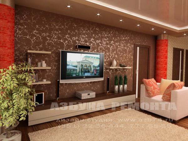 Совмещение на стене телевизора и полок