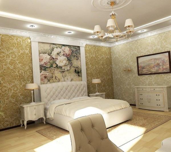 Текстурные фотообои на стену в спальню, имитирующие фреску