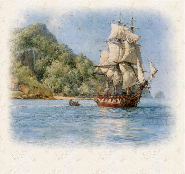Текстурные фотообои с изображением корабля, имитирующие фреску