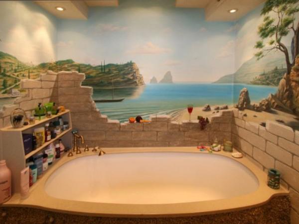 Текстурные фотообои с изображением морского пейзажа в интерьере ванной комнате