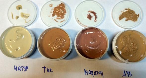 Цвет шпаклевки, как видно на фото, бывает разным и его желательно подобрать в тон поверхности
