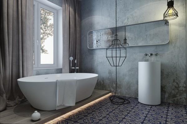 Ванная в стиле лофт со штукатуркой под бетон