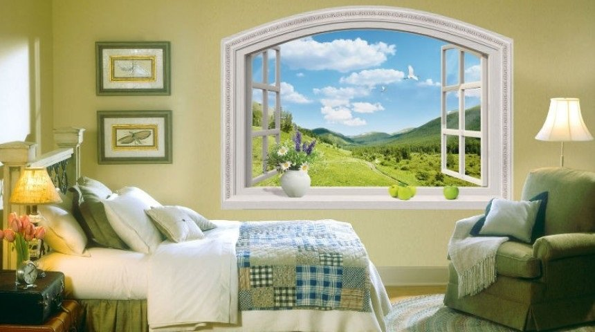 Фотообои с изображением окна с видом на горный пейзаж, украсят любую комнату, независимо от стиля в котором она оформлена