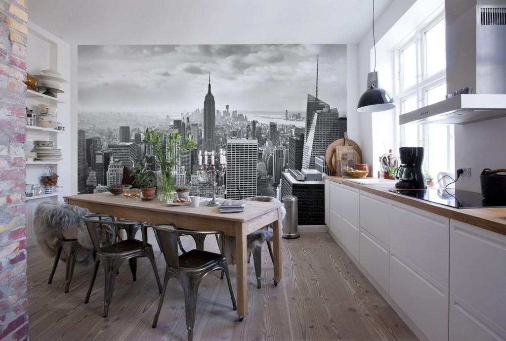 На фото, фотообои с панорамным видом на современный город, в интерьере кухни в стиле лофт