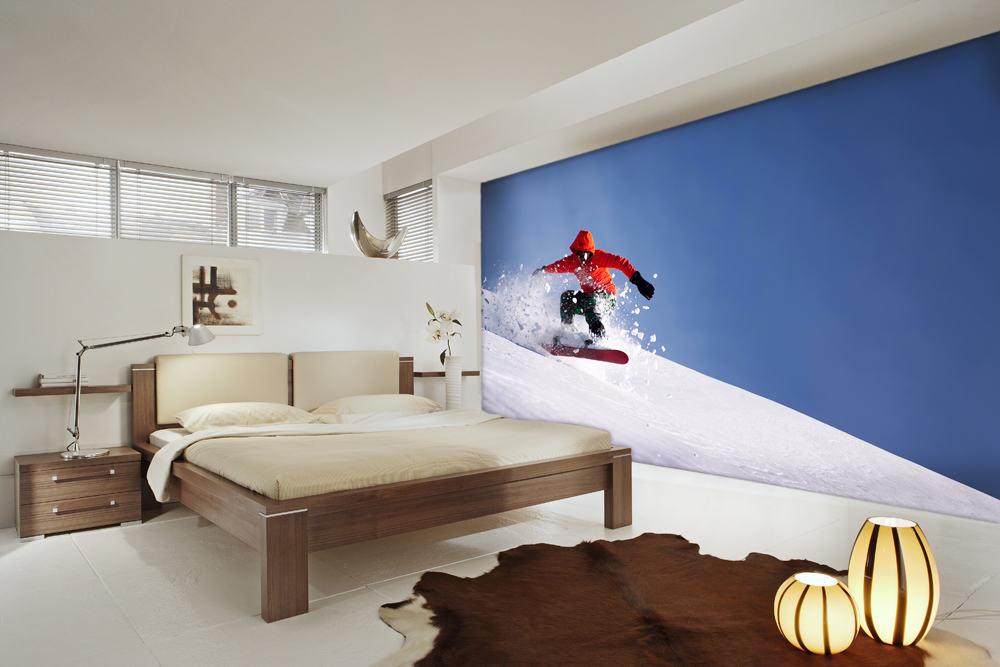Современный экстремальный спорт фотообои в интерьере спальни