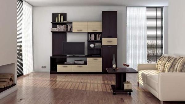 Двухцветная мебель в гостиной