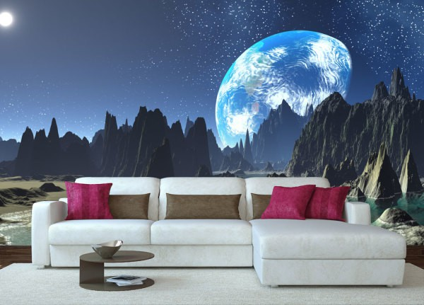 Флуоресцентные фотообои со светящимся в темноте изображением создаст интимную атмосферу в комнате и легко могут заменить ночники