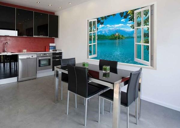Фотообои фальш-окно в интерьере современной кухни