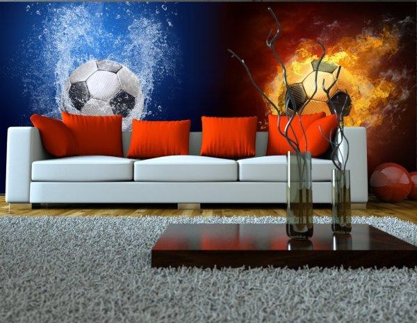 Фотообои с изображением футбольных мячей на тему «вода и огонь», в современном интерьере
