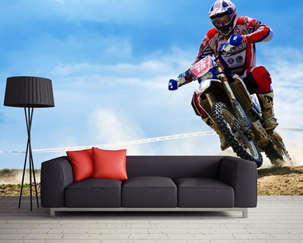 Фотообои с изображением гонщика на гоночном мотоцикле в современном интерьере гостиной