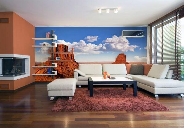 Фотообои с изображением гор в пустыне, является хорошим ярким акцентом в светлой гостиной