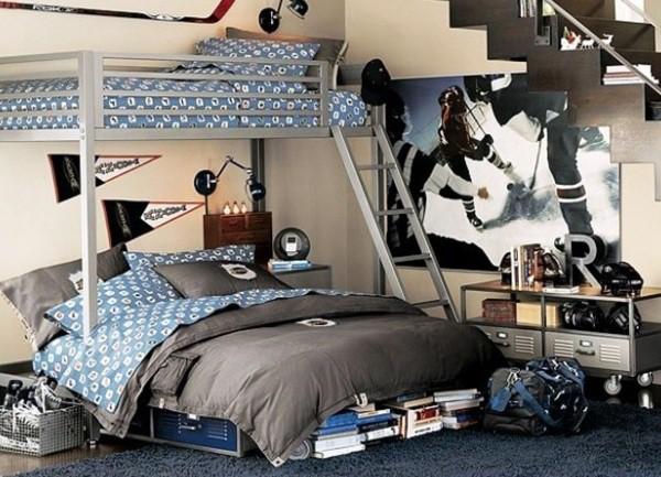 Фотообои с изображением хоккейного сюжета в интерьере подростковой комнаты