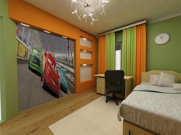 Фотообои с изображением мультяшных гонок для детской комнаты