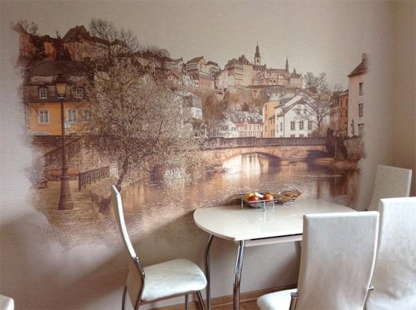 Фотообои с изображением старого города в интерьере классическо-современной кухни