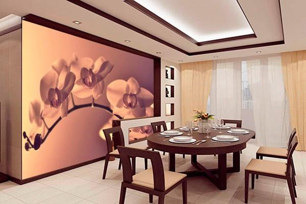 Фотообои с изображением веточки сакуры в японском интерьере столовой-кухни