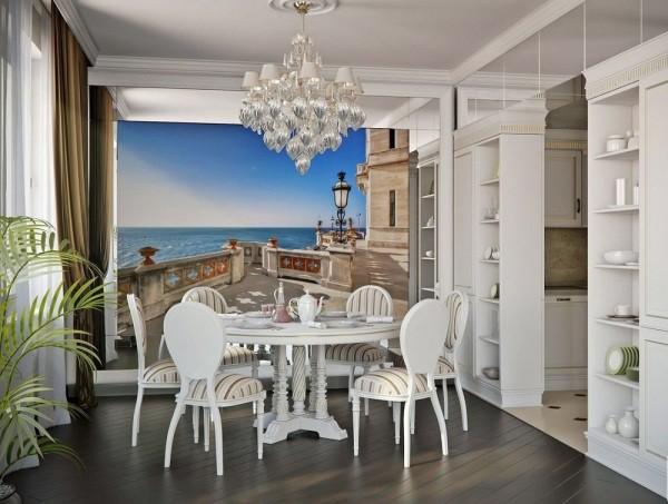 Фотообои с изображением вида с террасы на бескрайнее море, в интерьере классической кухни