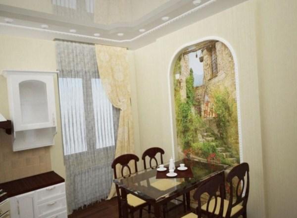 Фотообои с изображением выхода на улочки старого города, в интерьере классической кухни