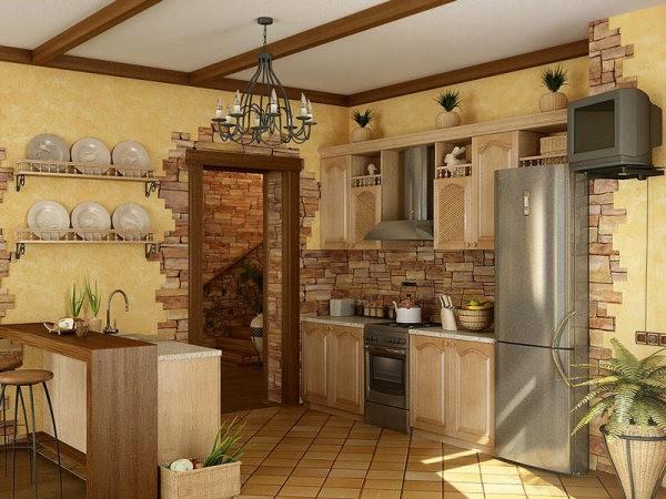 Комбинирование отделочных материалов и кухонных аксессуаров при декоре стен кухни