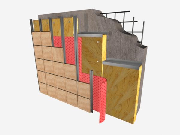 Многослойная конструкция фасадной отделки с использованием минеральной ваты