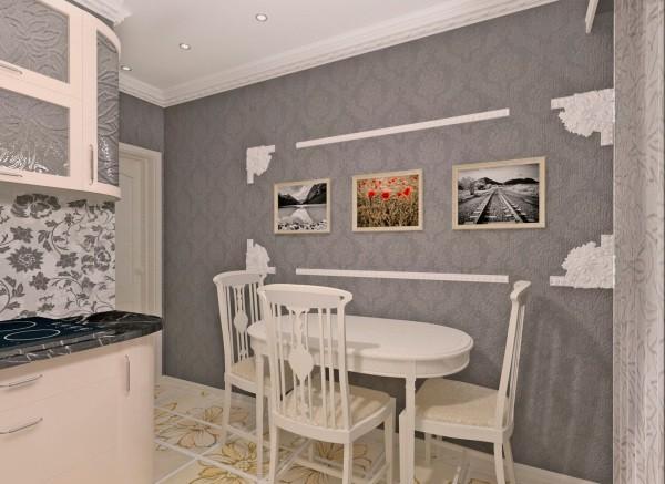 На фото, пример украшения пустой стены на небольшой кухне