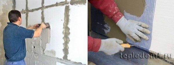 Нанесение клея на стену гребенкой