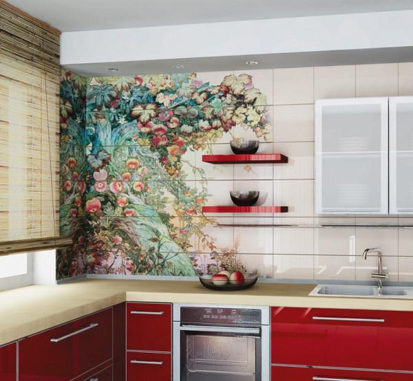 Оформление стены на кухне маленькой по объёму, с помощью декоративной плитки