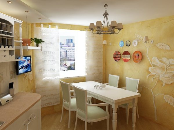 Пример декоративной штукатурки на стенах маленькой кухни