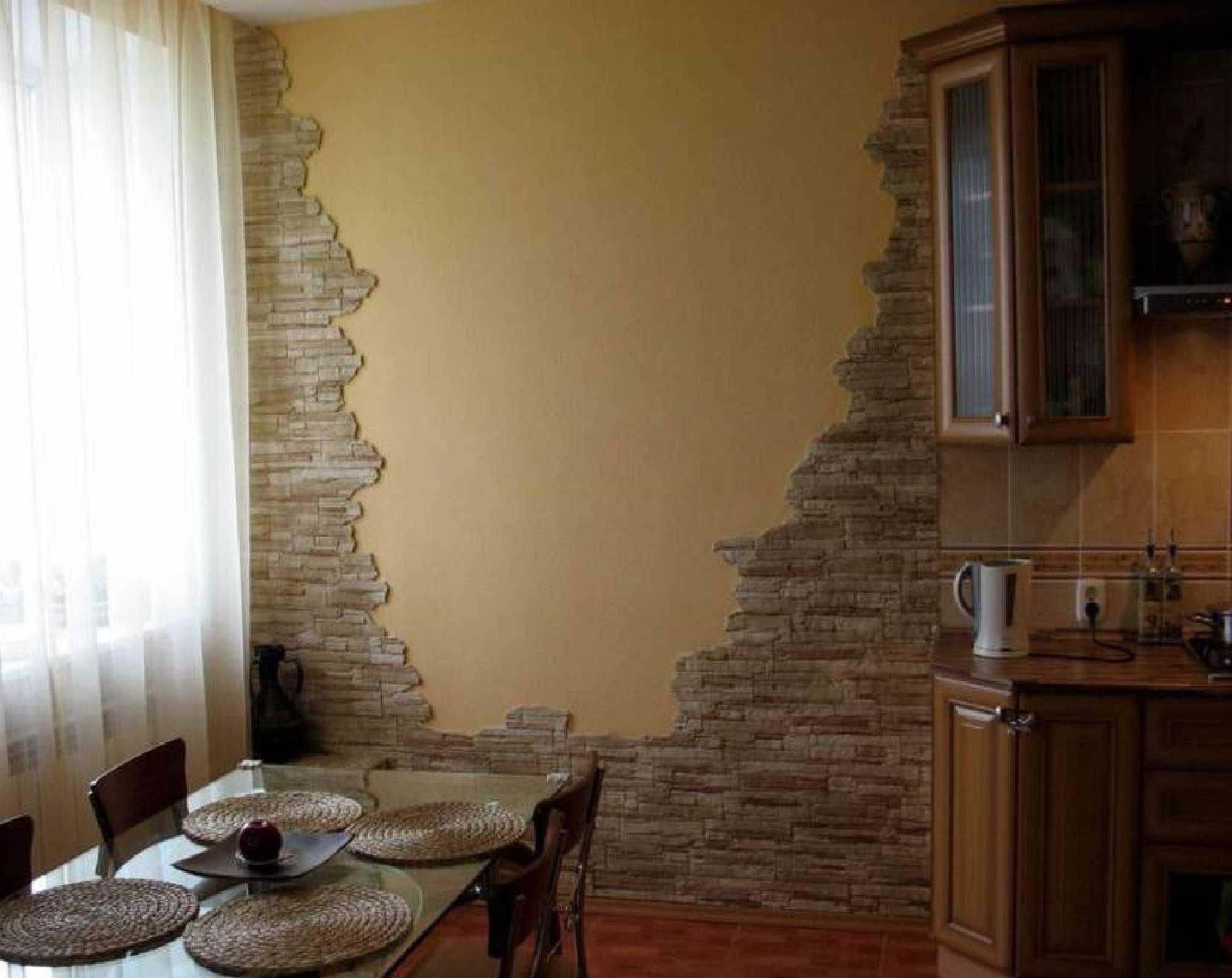 Искусственный камень в дизайне кухни фото