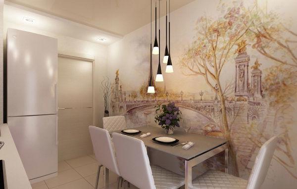 Пример, как декорировать стену на кухне возле обеденного стола