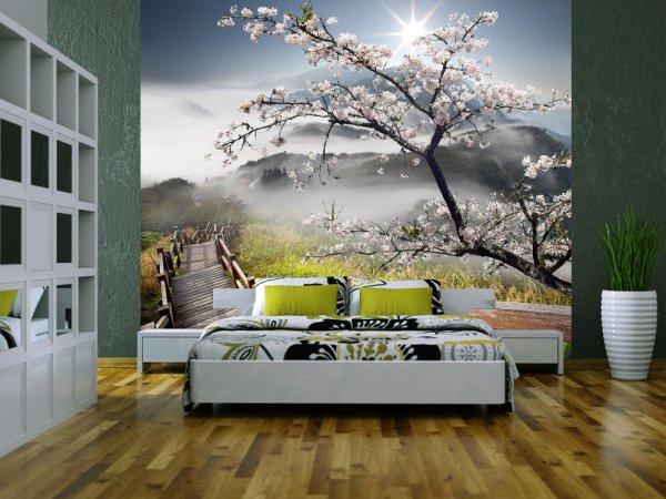 Пример применения фотообоев с удалённым изображением гор для выделения зоны сна в спальне