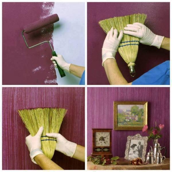 С помощью краски также можно создать красивые стены в помещении