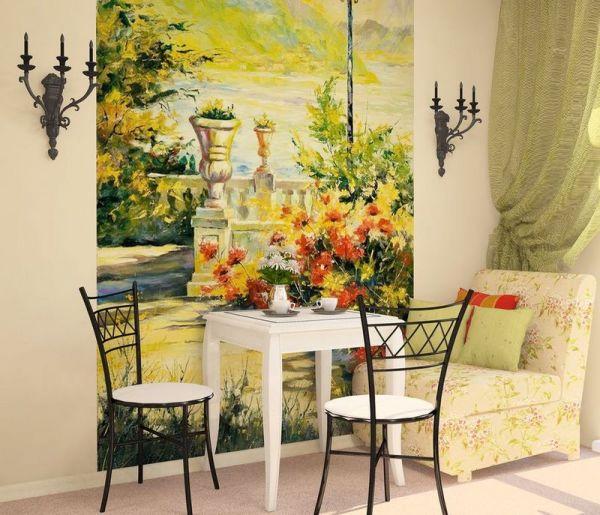 Текстурные фотообои для кухни на стену, имитирующие акварель, с изображением вида с террасы