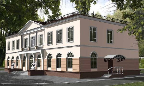 Терразитовое покрытие административного фасада