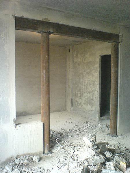 Установка опор при сносе несущей стены