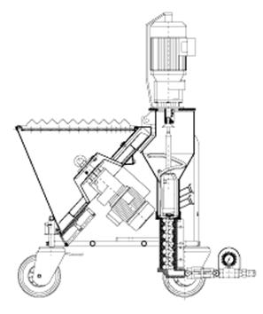 Устройство машины для нанесения штукатурки