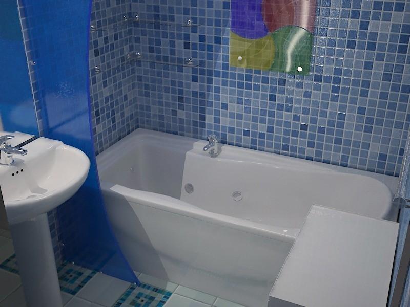 Пластиковые панели имитирующие мозаичную керамическую плитку. Идеальное решение для ванной комнаты