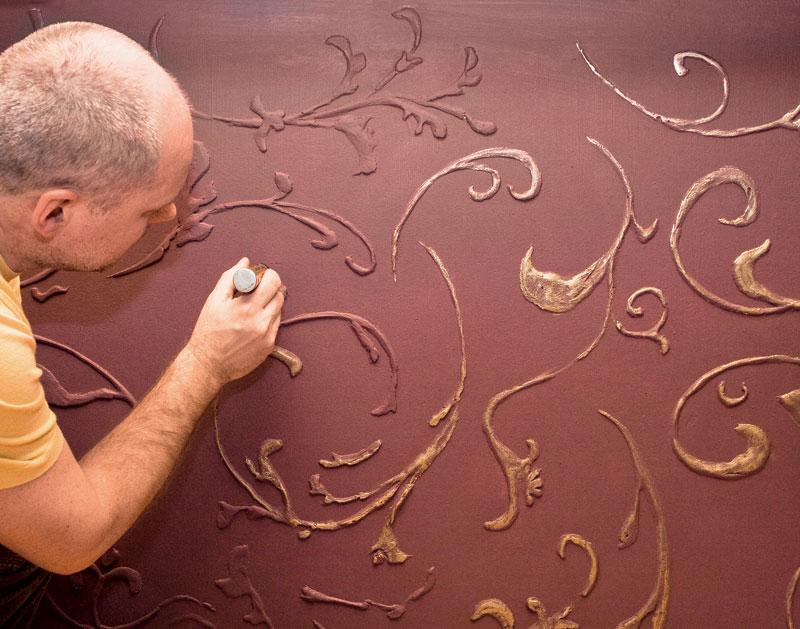 Рельефные узоры на стенах своими руками 3