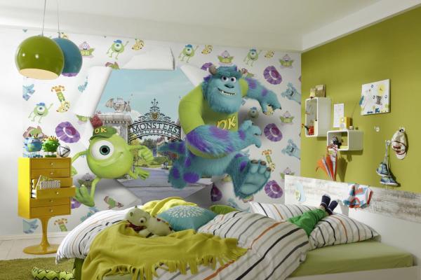 Детские фотообои готовые должны гармонировать со всей комнатой, как с её отделкой, дублируя цвета и оттенки, так и с мебелью, повторяя формы и цвета