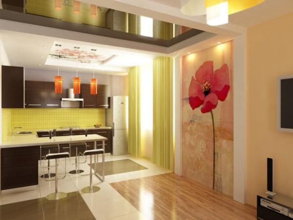 Дизайн кухни с настенным панно