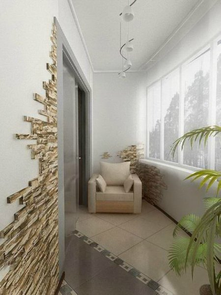 Дизайн отделки стен на лоджии