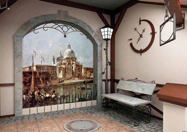 Если помещение прихожей позволяет, то изображение фотообоев можно подчеркнуть дополнительным декором
