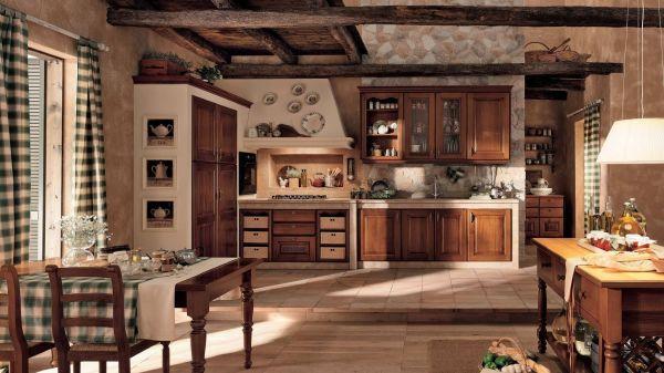Фотографии представлен пример кухни в стиле шале, со стенами отделанными натуральными обоями, выгодно подчёркивающие мебель