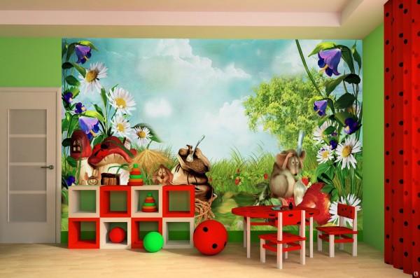 Фотообои для детского сада подбирают хотя и с детскими изображениями, но более нейтральными, как природа, звери и сказка, пример смотрите на фотографии