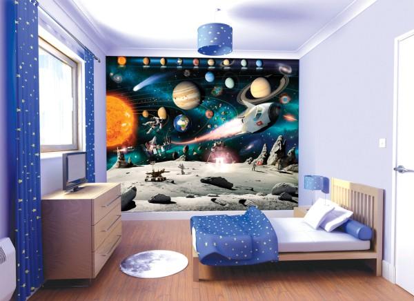 Фотообои для детской комнаты с изображением космических мотивов, больше подойдут для комнаты мальчика, который любит фантастику
