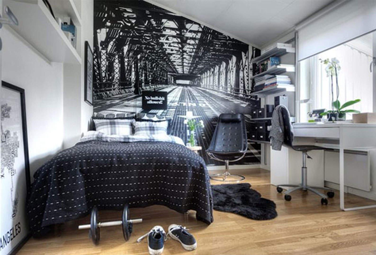 Дизайн белой комнаты для парня
