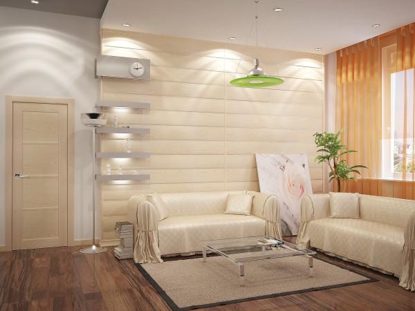 Горизонтальные мдф панели в интерьере гостиной
